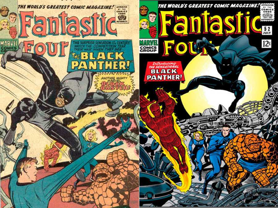 Primer boceto de la portada de Fantastic Four 52 y la versión definitiva