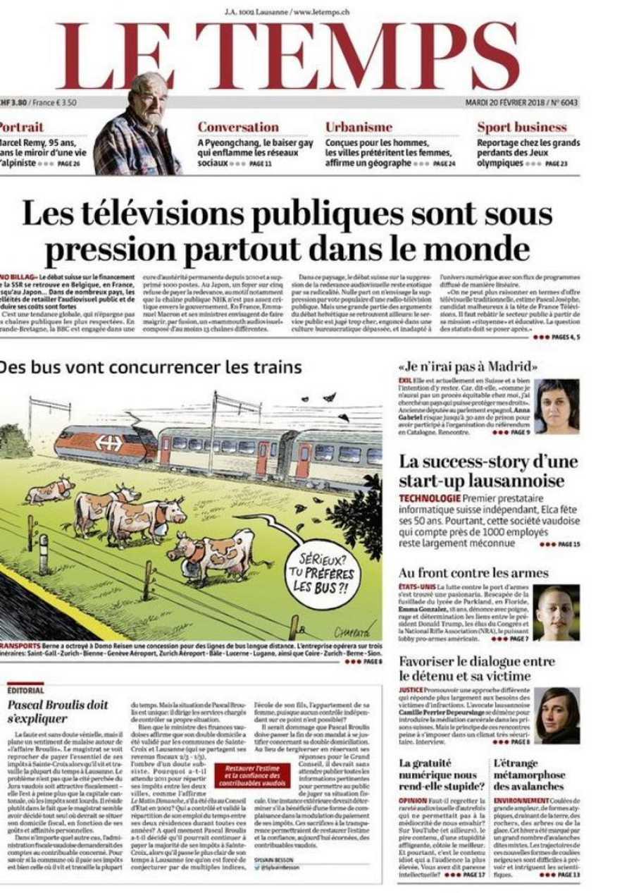 Portada del diario suizo Le Temps del 20 de febrero de 2018