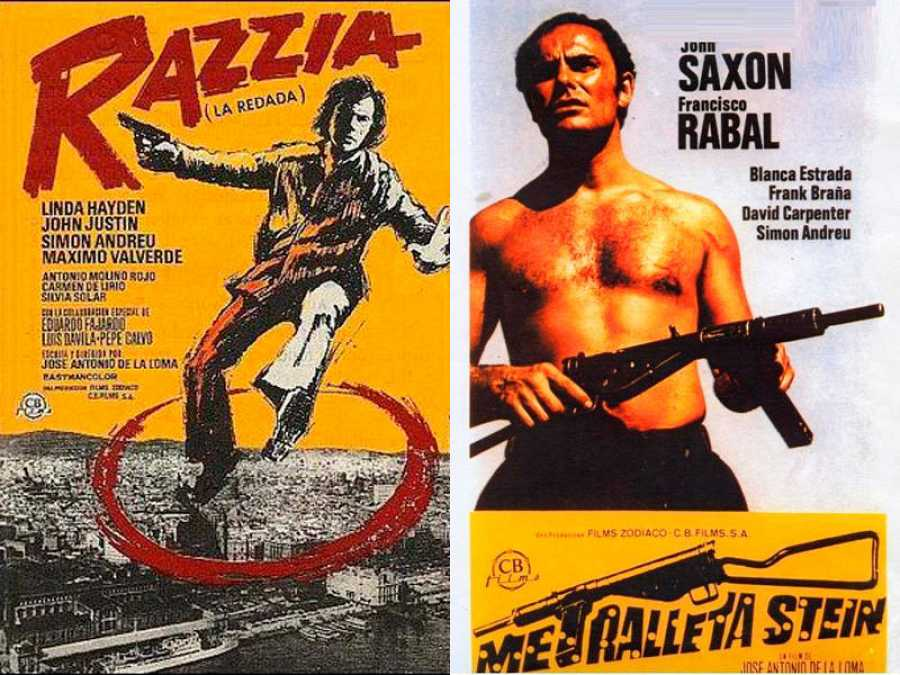 Carteles de 'La redada' y 'Metralleta Stein', de la trilogía del comisario Mendoza