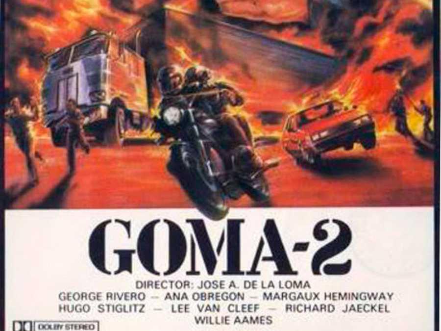 Fragmento del cartel de 'Goma-2', una película con Lee Van Cleef y Ana Obregón
