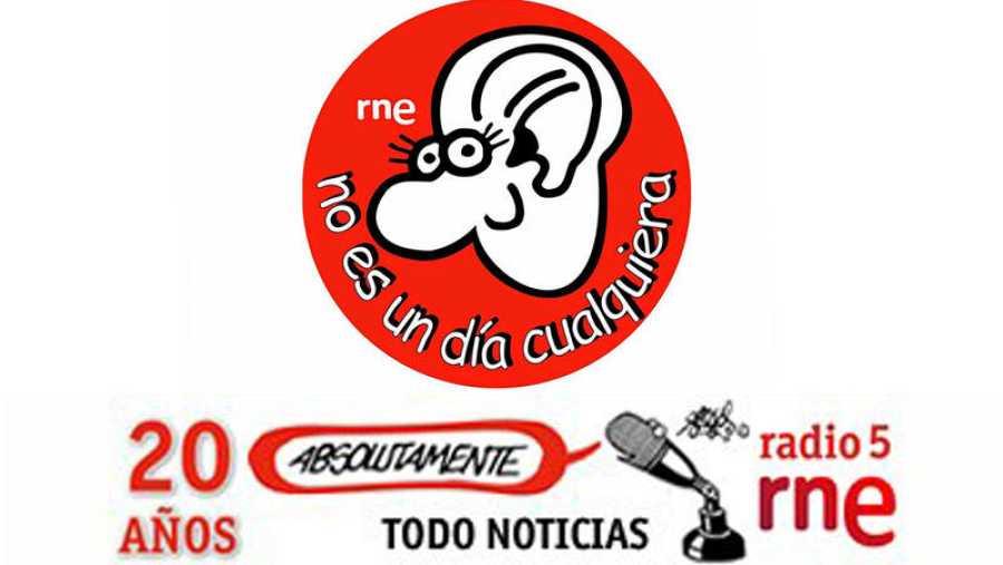 Logotipos de Forges para 'No es un día cualquiera' y el 20º aniversario de Radio 5 Todo Noticias.