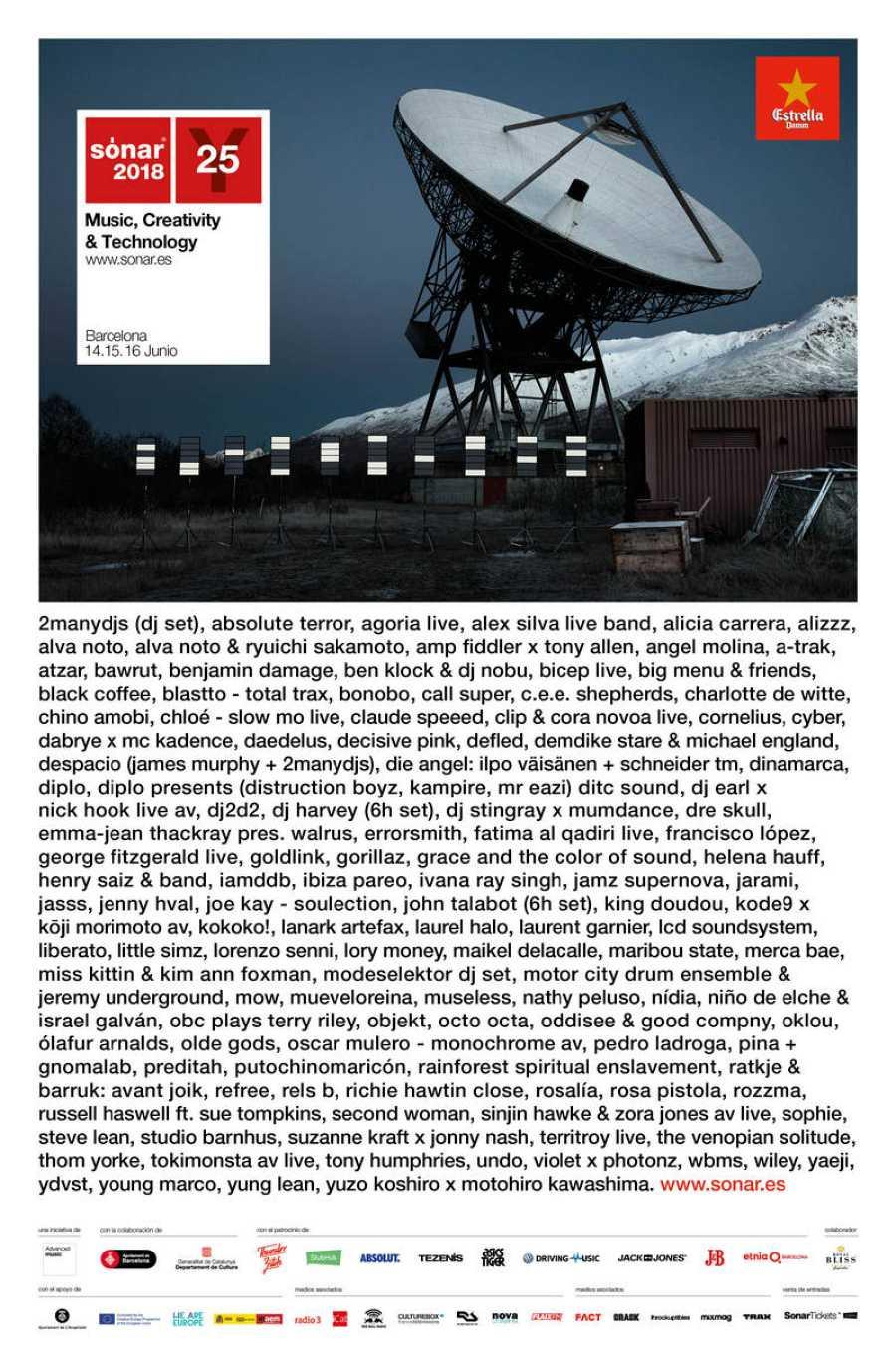 Cartel completo de la edición 25º aniversario de Sónar Barcelona