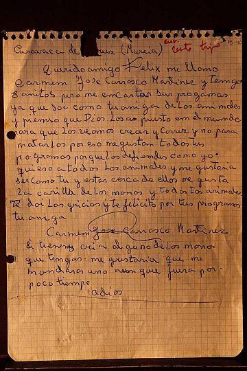 Carta de una niña a Félix, en la que le manifiesta su repulsa al maltrato animal