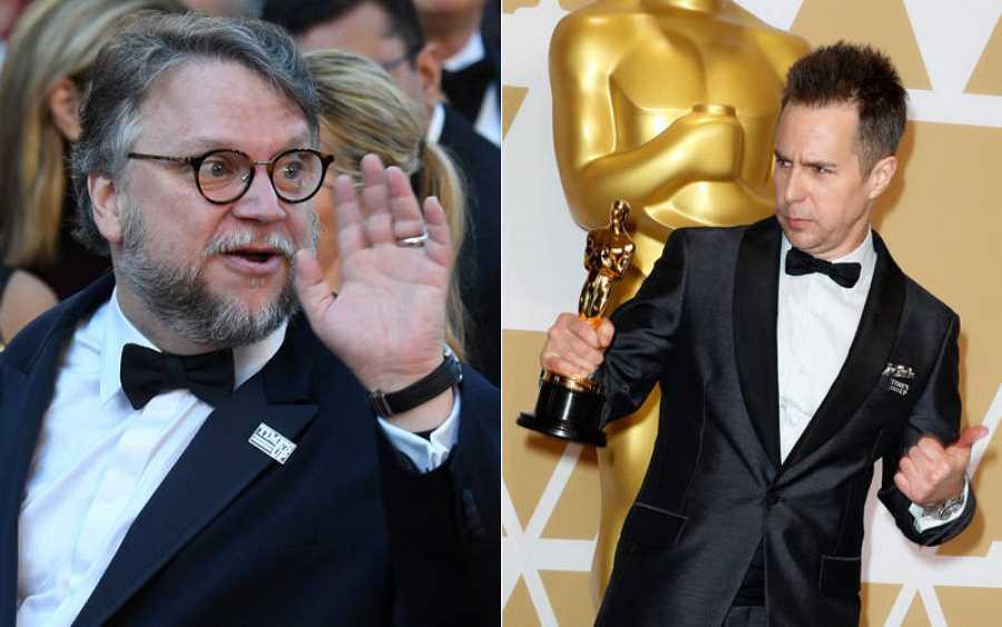 Guillermo del Toro y Sam Rockwell con los pines de 'Time's Up'