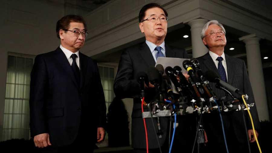Rueda de prensa del jefe de la Oficina de Seguridad Nacional de Corea del Sur, Chung Eui-yong, en Washington