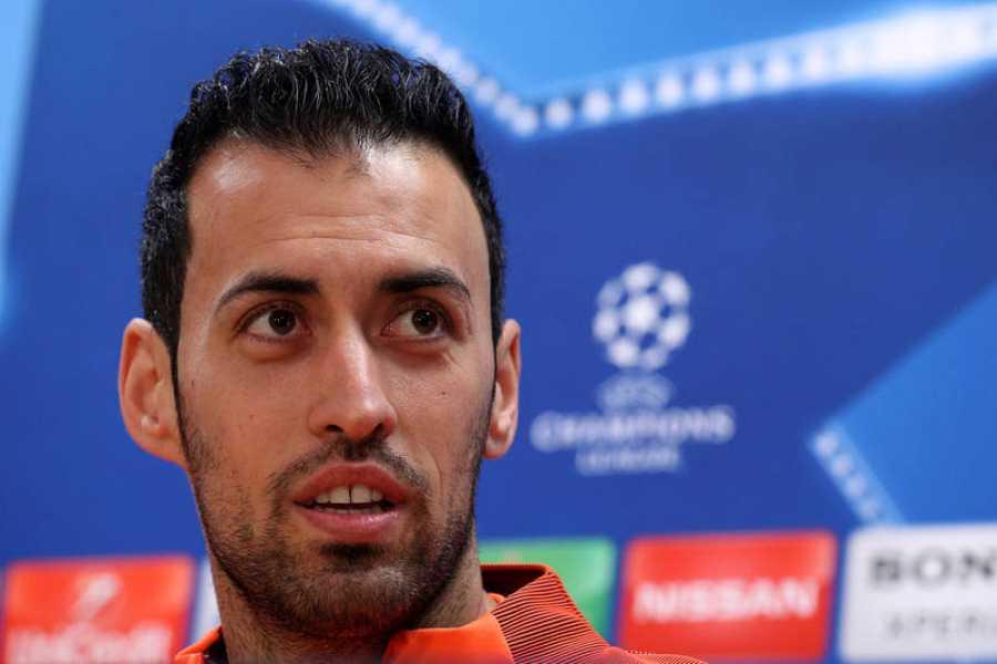 El jugador del FC Barcelona Sergio Busquets durante la rueda de prensa.