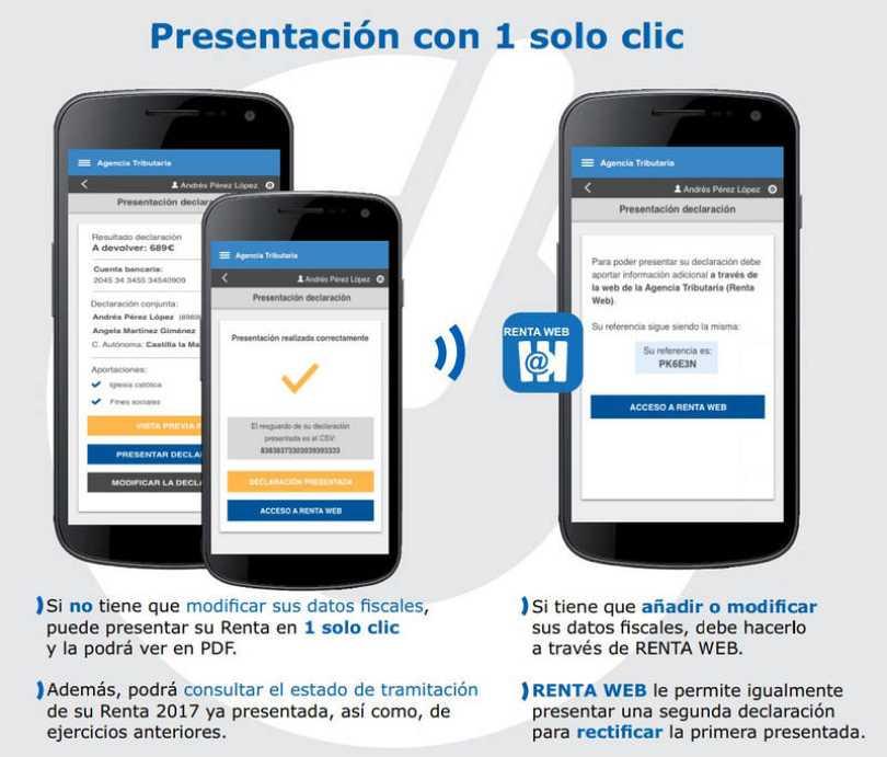 La nueva app de la Agencia Tributaria permite aceptar su borrador en un solo 'clic'