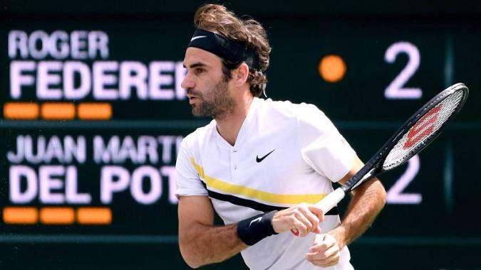 Roger Federer, durante un lance de la final ante Del Potro