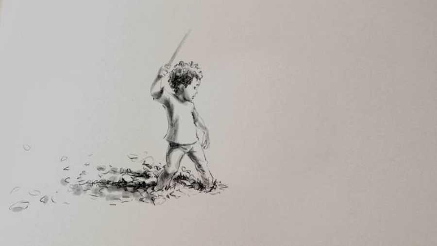 Dibujo de Owen con una espada