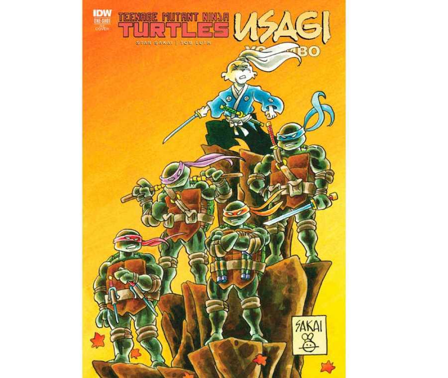 Portada de la versión americanca de 'Usagi Yojimbo & las Tortugas Ninja'