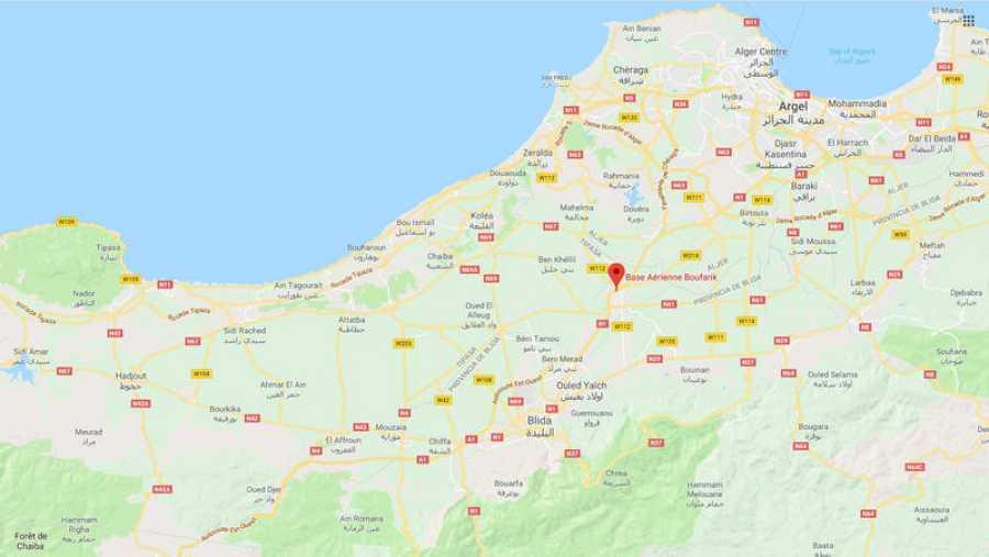 Mapa con la ubicación de la base aérea de Boufarik, en Argelia (Google Maps)