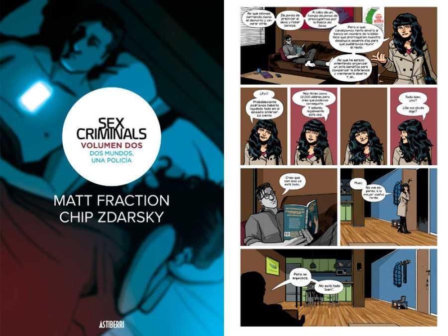 Portada y página del segundo tomo de 'Sex criminals'