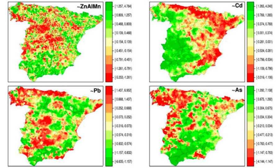 Distribución espacial de la composición de metales en suelo en los municipios españoles de la península ibérica, en concreto, zinc (Zn), aluminio (Al), manganeso (Mn), cadmio (Cd), plomo (Pb) y arsénico (As). / G. López-Abente et al./Environ Sci Pol