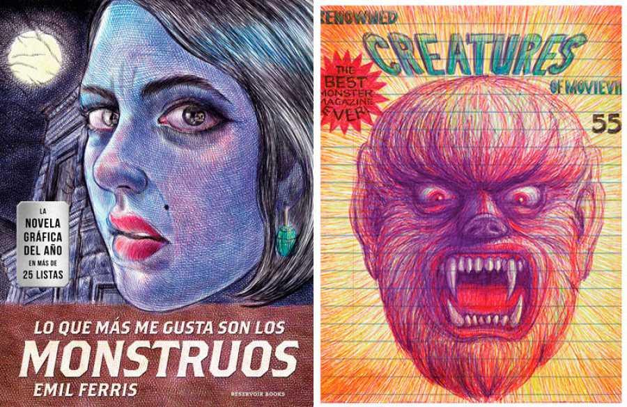 Portada y página de 'Lo que más me gusta son los monstruos'
