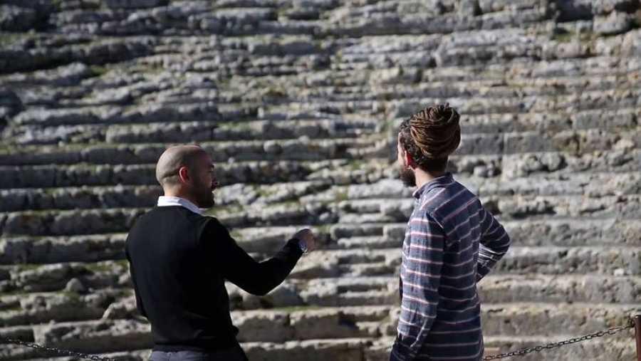 Jorge Sierra en el yacimiento romano de Acinipo
