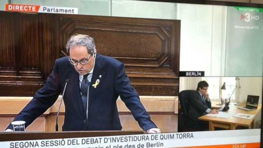 Imagen de TV3 durante el pleno de investidura de Torra (TWITTER)