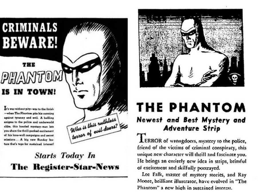Anuncios de la llegada de The Phantom a los periódicos estadounidenses en 1936
