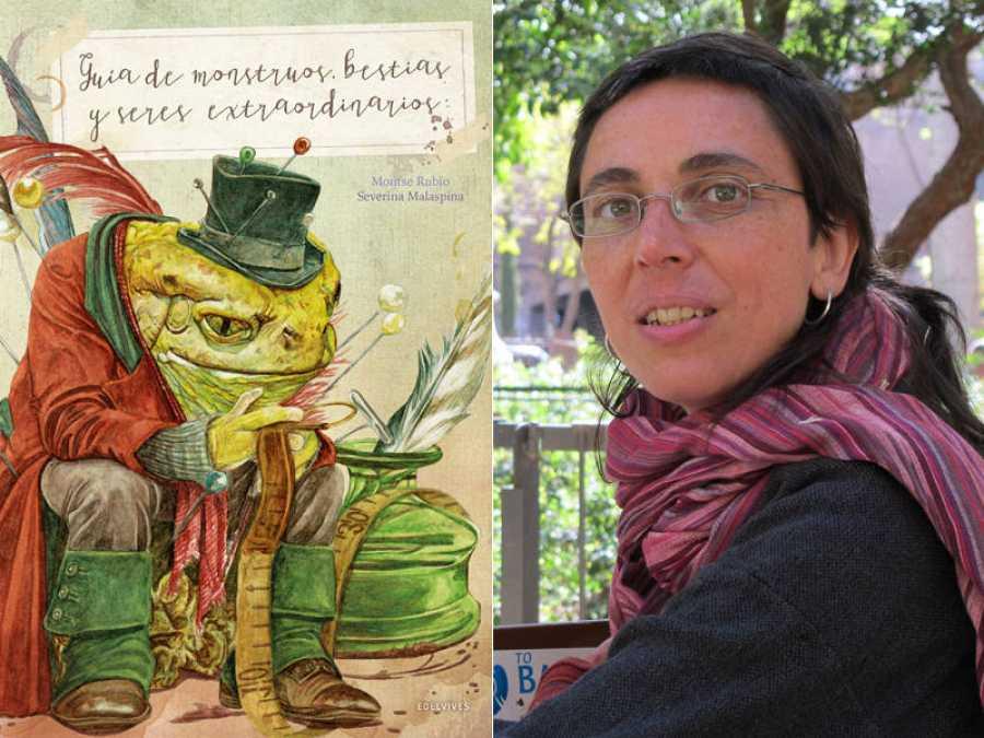 Portada de 'Guia de monstruos, bestias y seres extraordinarios' y su autora, Montse Rubio
