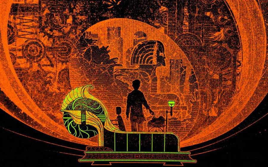 Fragmento de la portada de Kevin Tong para 'La máquina del tiempo'