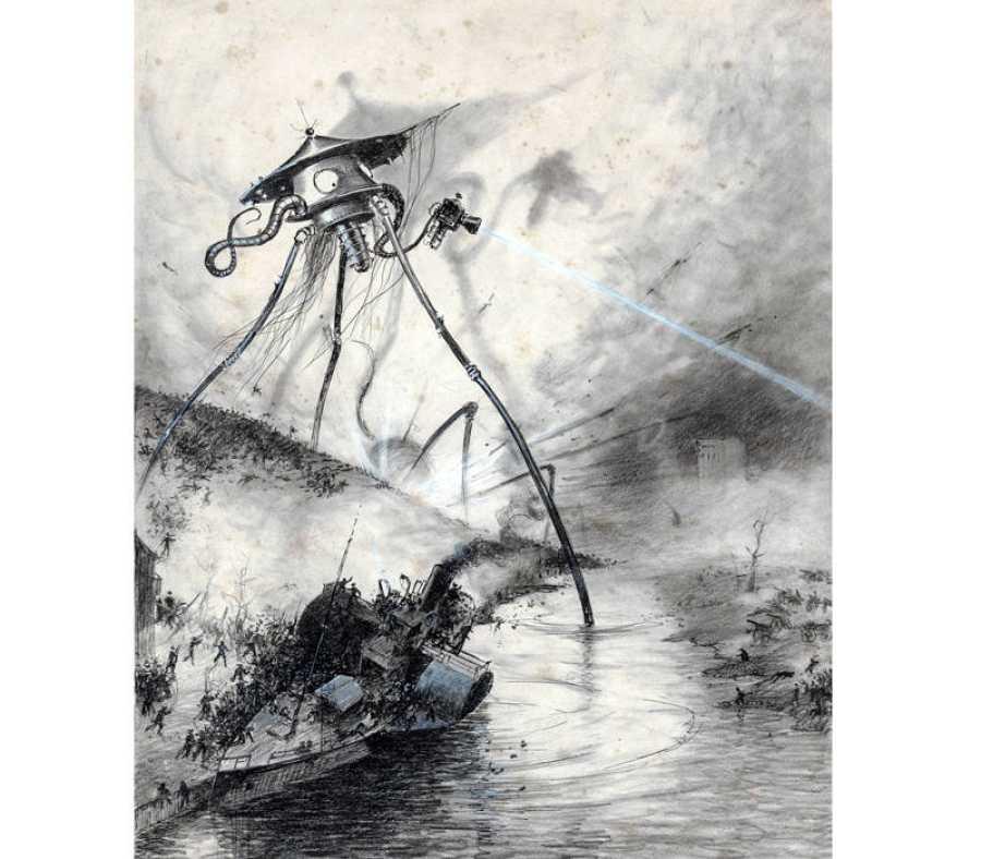 Ilustración de Enrique Alvim Corrêa par 'La guerra de los mundos'