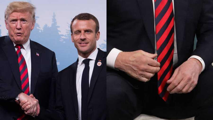El firme apretón de manos entre Trump y Macron deja el dedo del presidente francés grabado en la mano del mandatario estadounidense