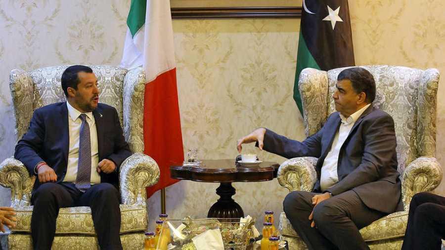 El ministro de Interior italiano, Matteo Salvini, en Trípoli (Libia)