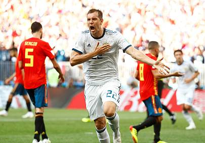 Dzyuba celebra el empate anotado ante España.