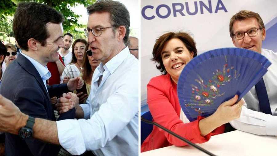 Feijóo ha recibido en campaña a los dos candidatos del PP