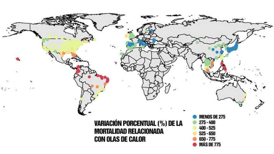 Mapa mundial de mortalidad de las zonas más afectadas por el aumento de las olas de calor