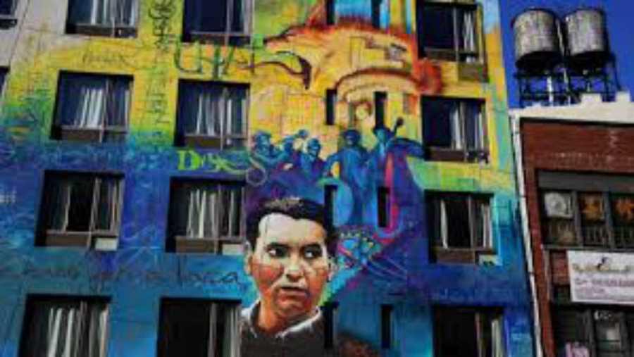 Mural de Lorca en Nueva York.
