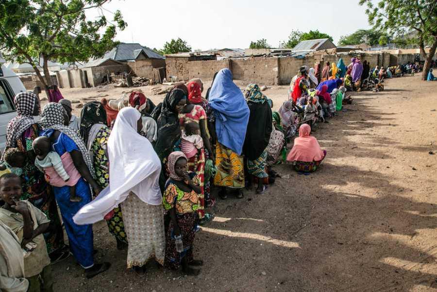 Un 88% de los refugiados en Pulka son mujeres y niños, de los cuales uno de cada cinco es menor de cinco años. IGOR BARBERO / MSF