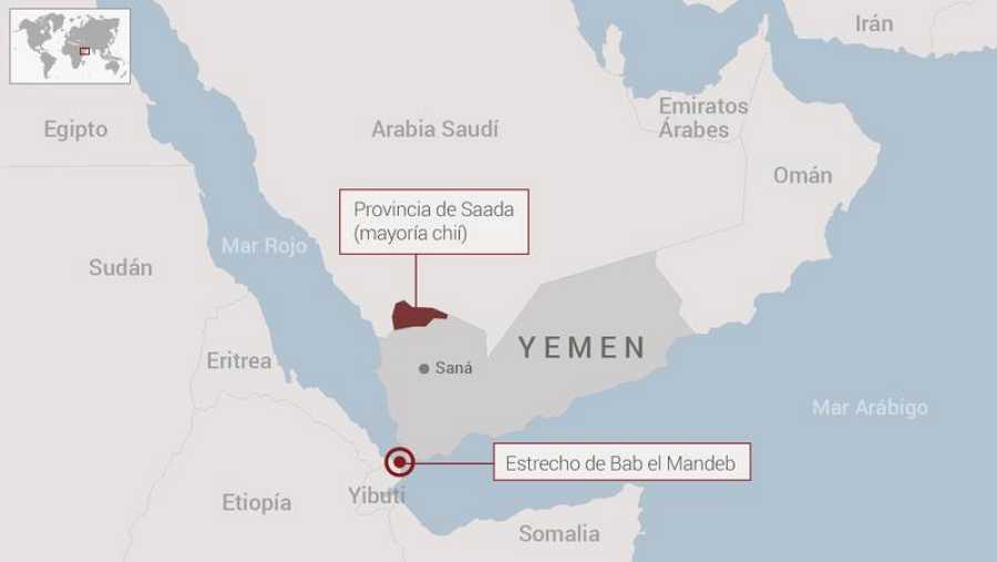 Ubicación de la provincia de Sadaa, donde se ha producido el bombardeo contra un autobús escolar