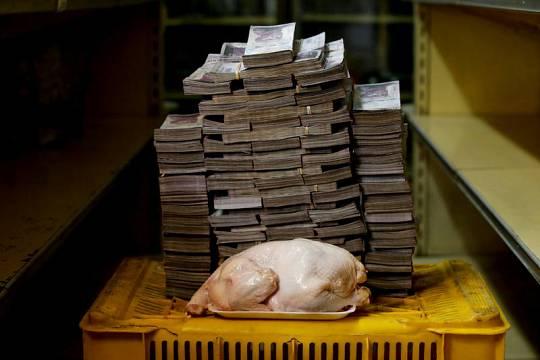 Un pollo de 2,4 kilos, fotografiado junto a 14,6 millones de bolivares, su precio actual