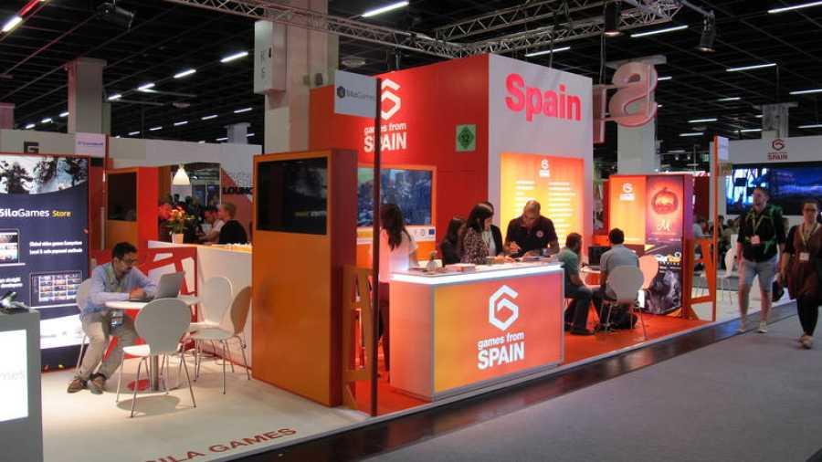 El estand de España en la zona de negocios de la Gamescom