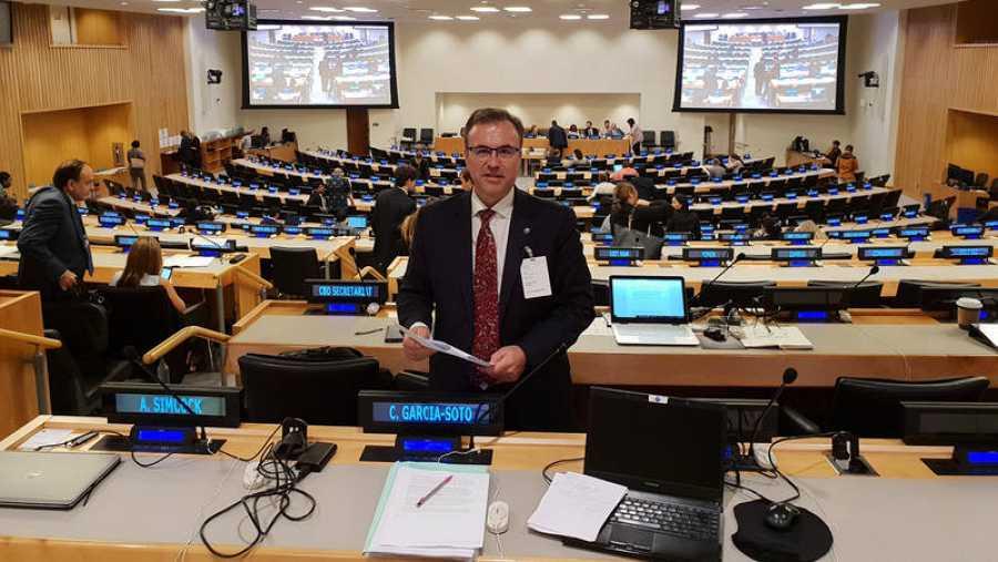 El oceanógrafo Carlos García Soto, durante la reunión de la ONU para el Informe Mundial sobre el Estado del Medioambiente Marino.