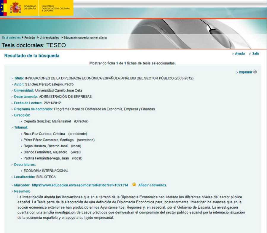 La ficha de la tesis doctoral de Pedro Sánchez, en la plataforma TESEO