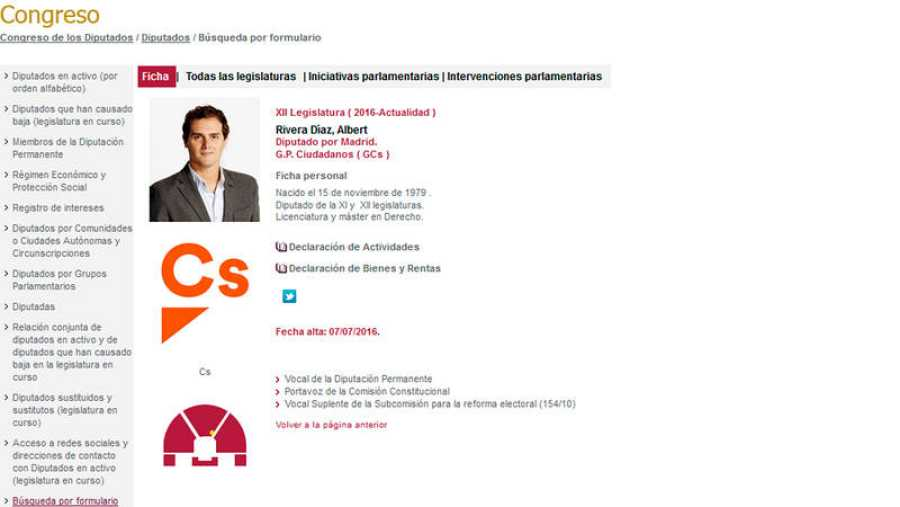 Ficha de Albert Rivera en la web del Congreso