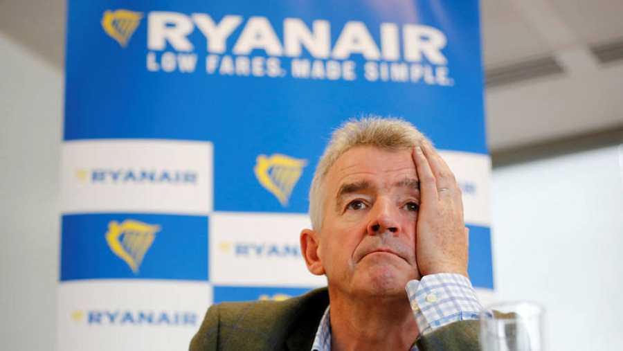 El CEO de Ryanair, Michael O'Leary, en una conferencia de prensa en Londres el pasado 12 de septiembre