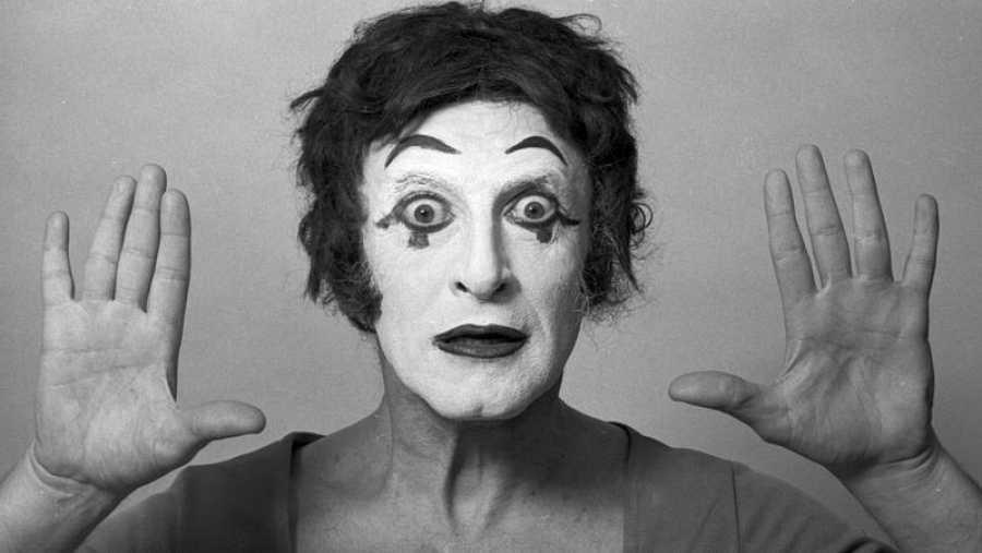 Primer plano del actor francés Marcel Marceau