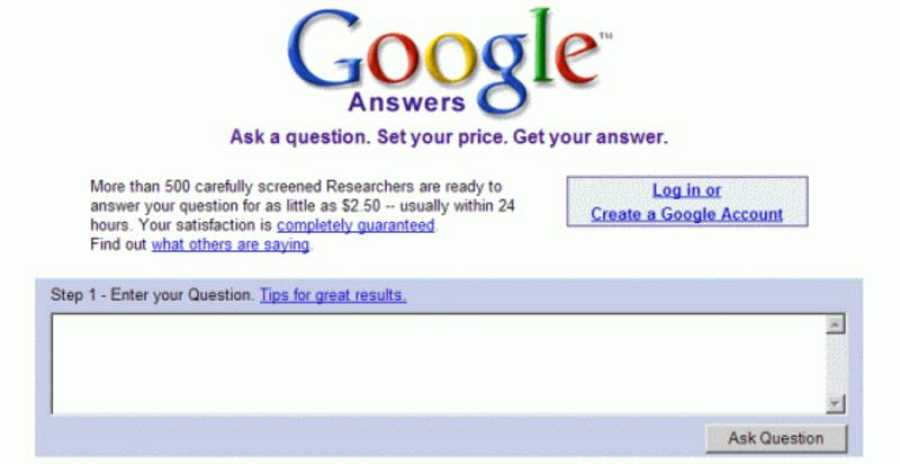 Los fracasos de Google: logo de Google Answers