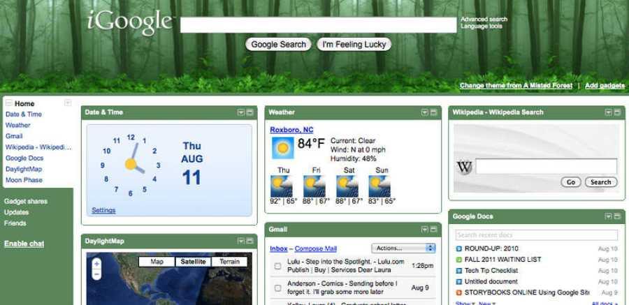 Fracasos de Google: imagen de iGoogle