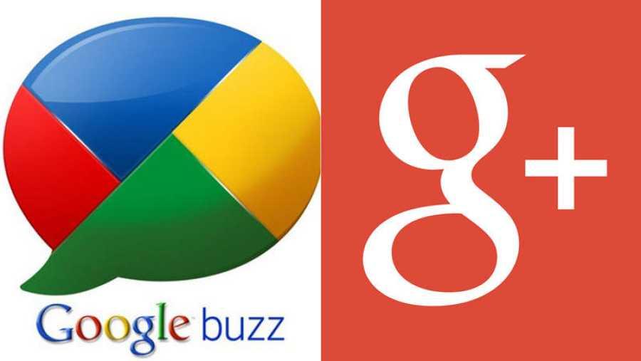 Fracasos de Google: logos de Google Buzz y Google+
