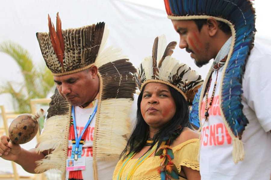Sonia Guajajara junto a integrantes de su comunidad en una acto de protesta en Lima (Perú) durante la cumbre del cambio climático celebrada en 2014.