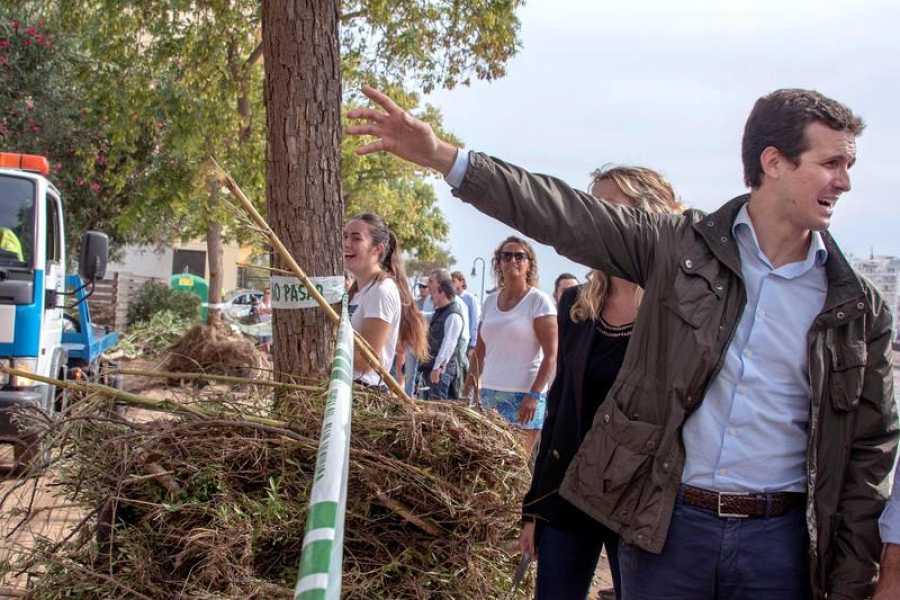 El presidente del Partido Popular, Pablo Casado, en la localidad de Sant Llorenç (Mallorca).