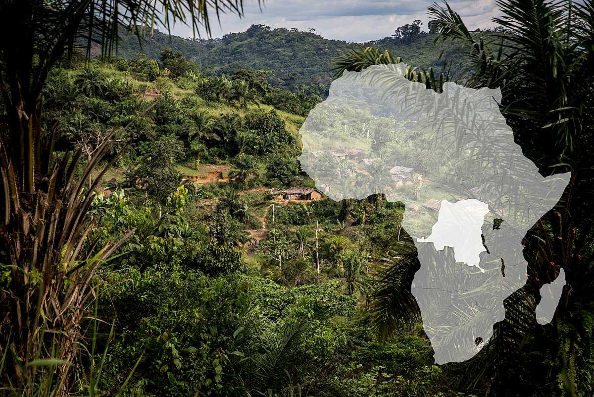 Plano general de una aldea del Congo, rodeada de vegetación.