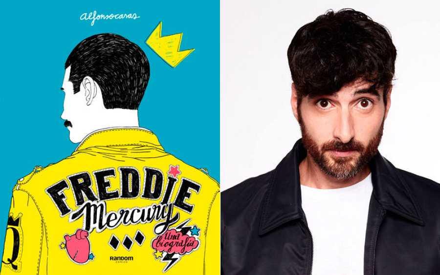 Portada del libro 'Freddie Mercury. Una biografía' y su autor, Alfonso Casas.
