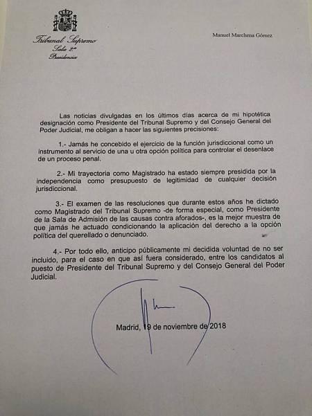 Comunicado del juez Manuel Marchena en el que renuncia a presidir el CGPJ