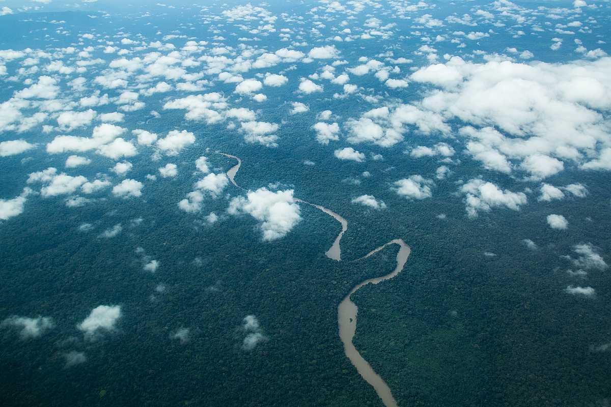 Paisaje de la zona de Lulingu, a vista de pájaro. Un río cruza la imagen rodeado de selva y unas pequeñas nubes sobrevuelan el paisaje.