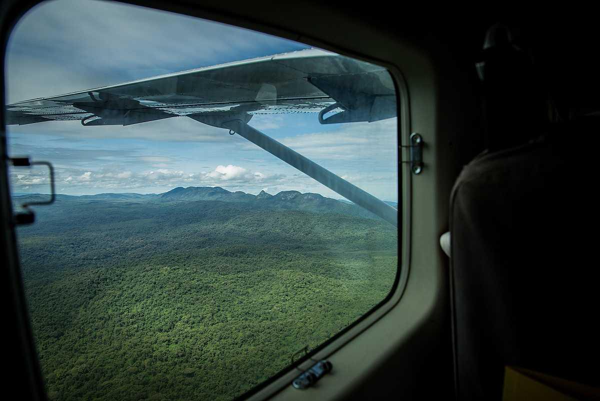 Paisaje selvático a través de la ventanilla de una avioneta. Al fondo se aprecia una formación montañosa.
