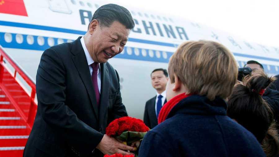El presidente de la República Popular China, Xi Jinping, a su llegada esta tarde a Madrid, para comenzar su visita oficial de tres días